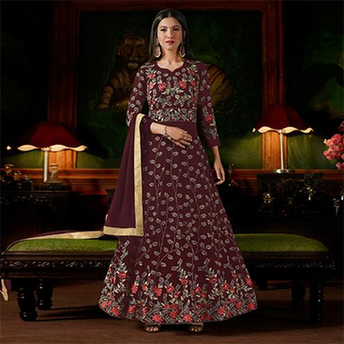 Beautiful Maroon Colored Partywear Designer Embroidered Georgette Anarkali Suit