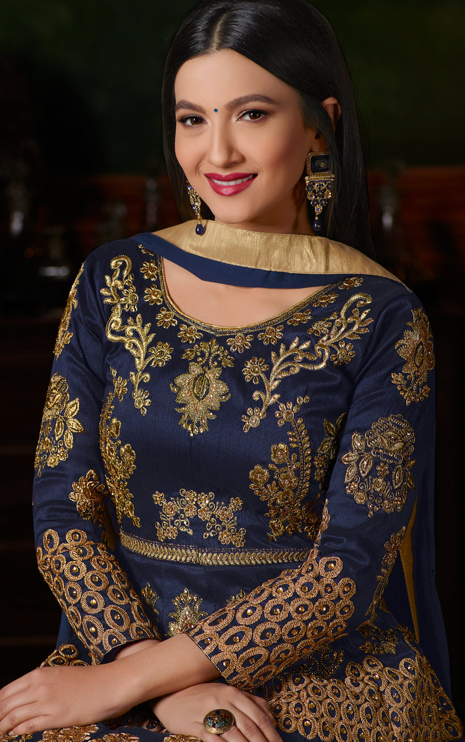 Gorgeous Navy Blue Colored Partywear Designer Embroidered Tapeta Silk Anarkali Suit