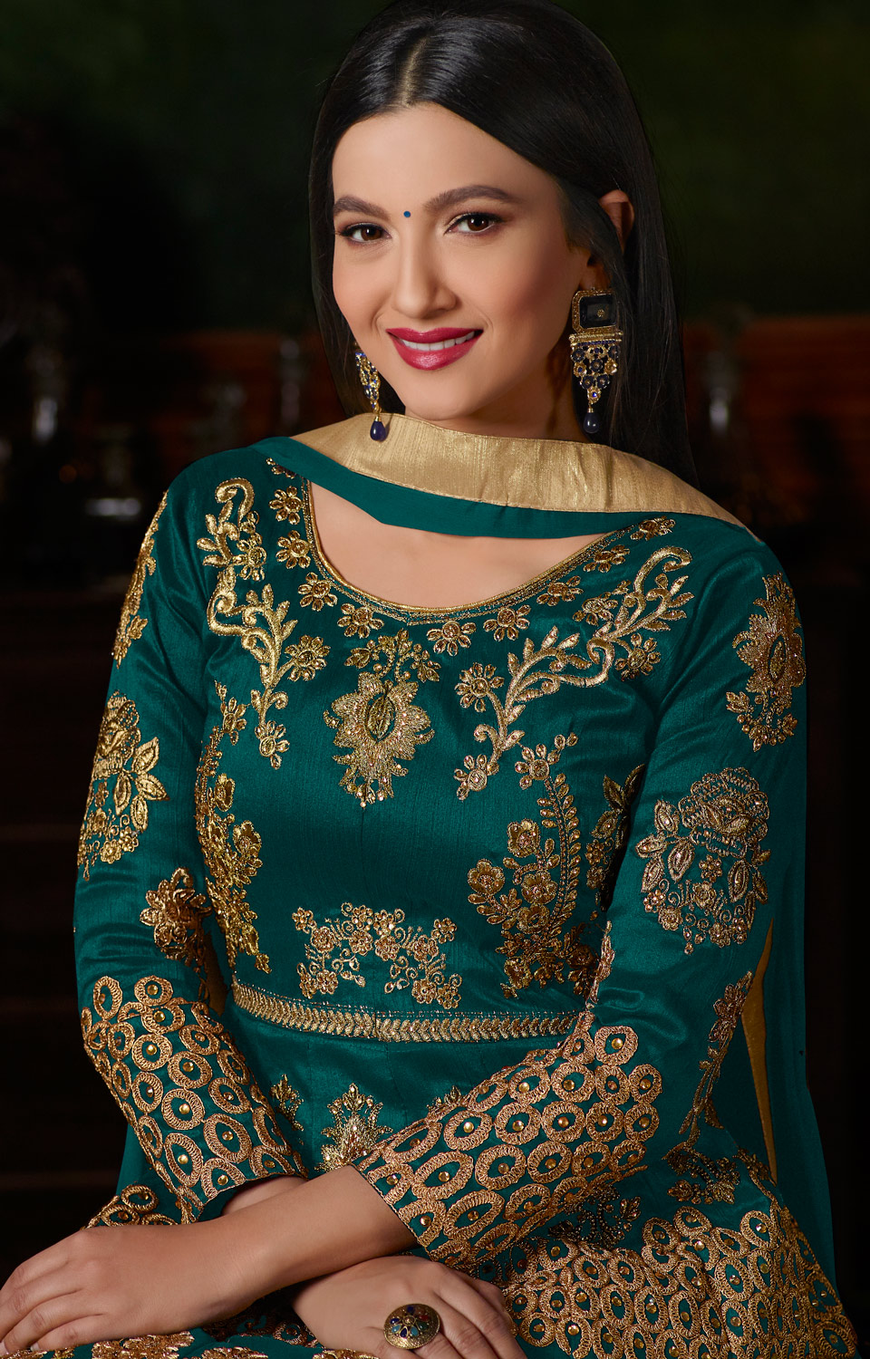 Tremendous Teal Green Colored Partywear Designer Embroidered Tapeta Silk Anarkali Suit