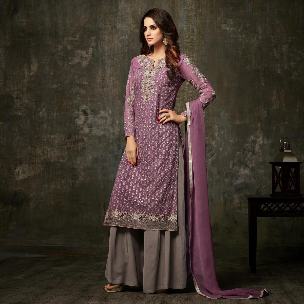 Dazzling Purple Colored Designer Embroidered Party Wear Georgette Palazzo Suit