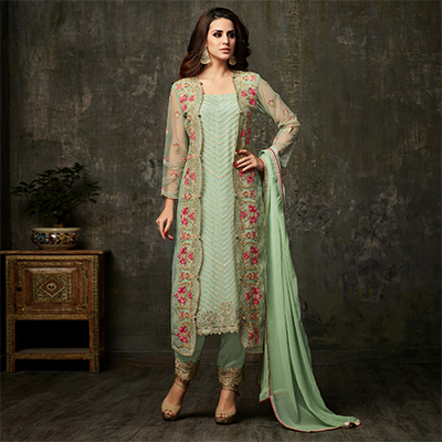 Alluring Pista Green Colored Designer Embroidered Party Wear Georgette Suit