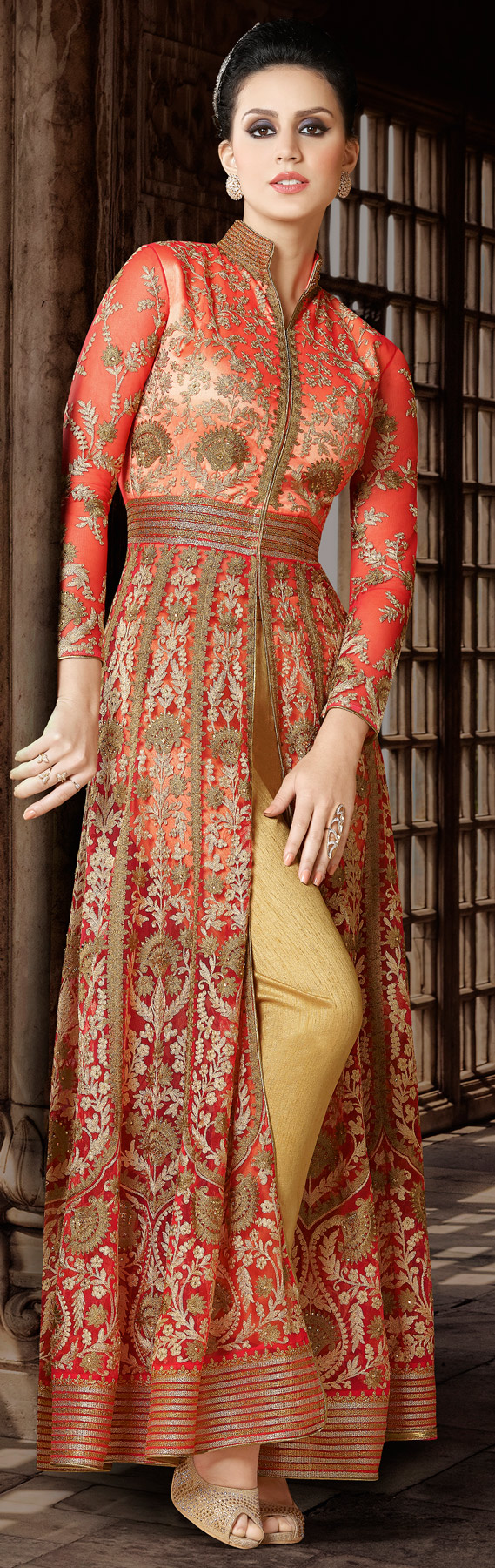 Flamboyant Orange Designer Embroidered Floor Length Premium Net Suit
