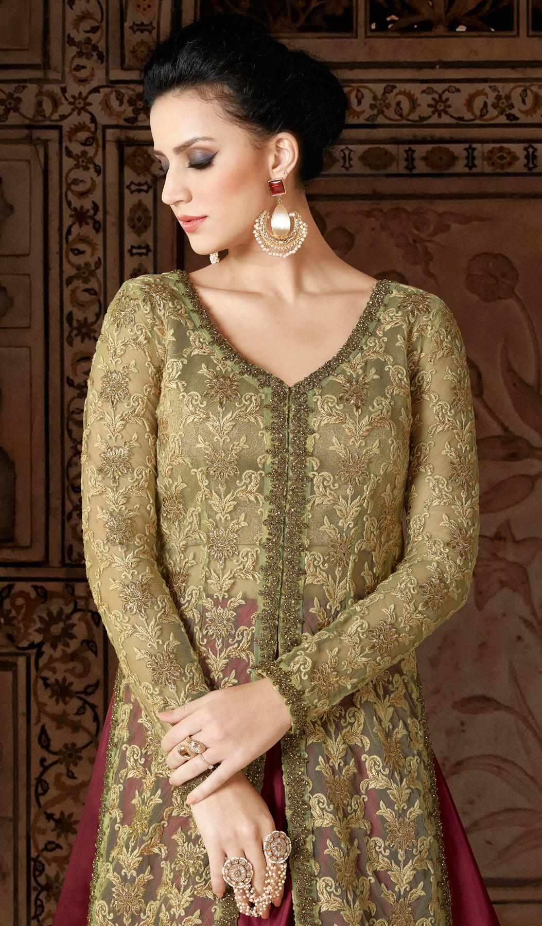 Attractive Green-Maroon Designer Embroidered Floor Length Premium Net Suit