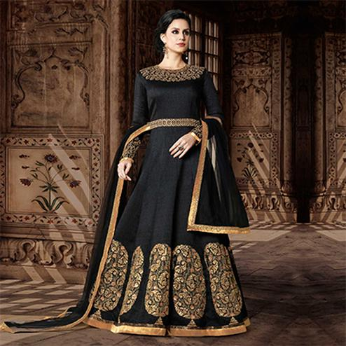 Stunning Black Designer Embroidered Floor Length Phantoom Silk Suit