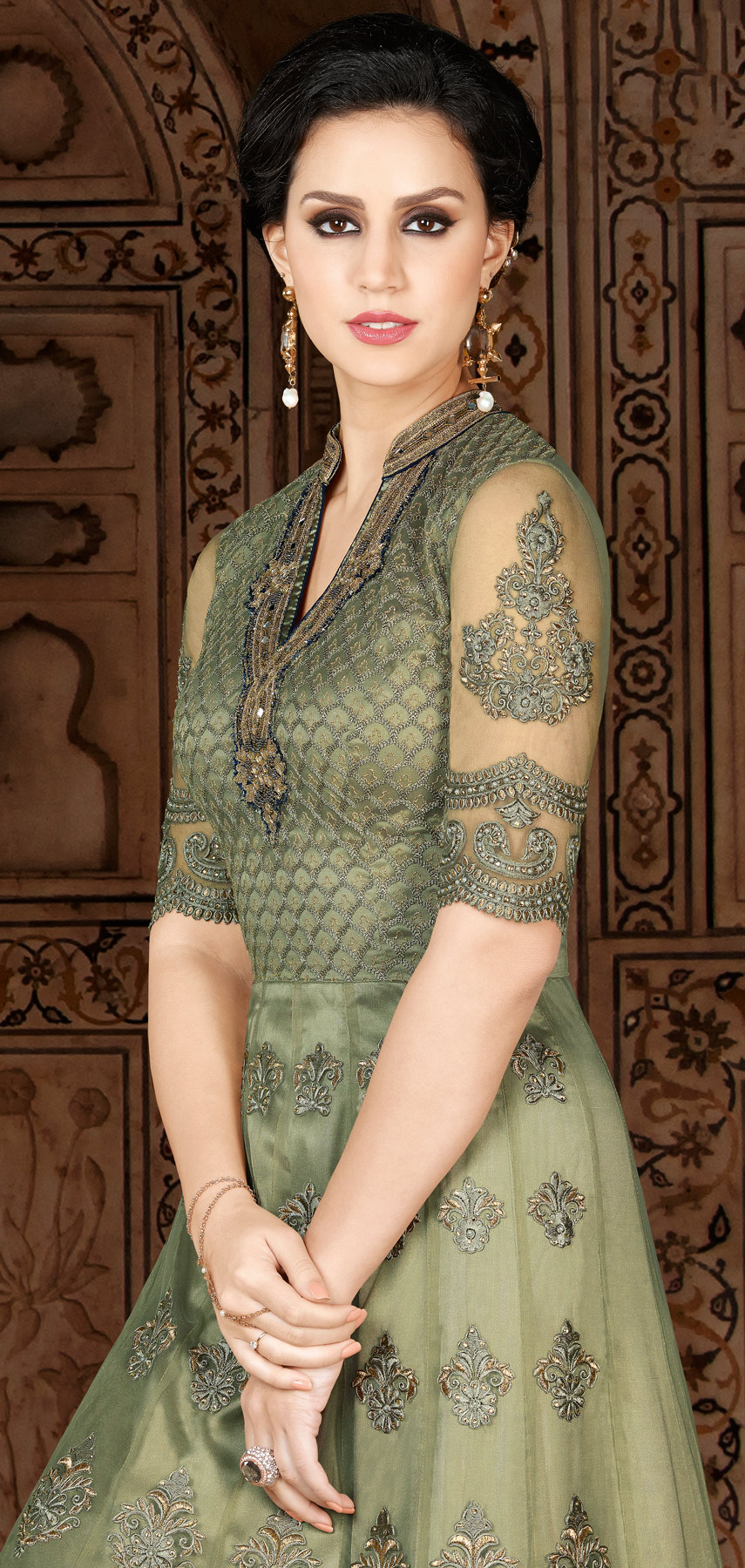 Gorgeous Green Designer Embroidered Floor Length Premium Net Suit