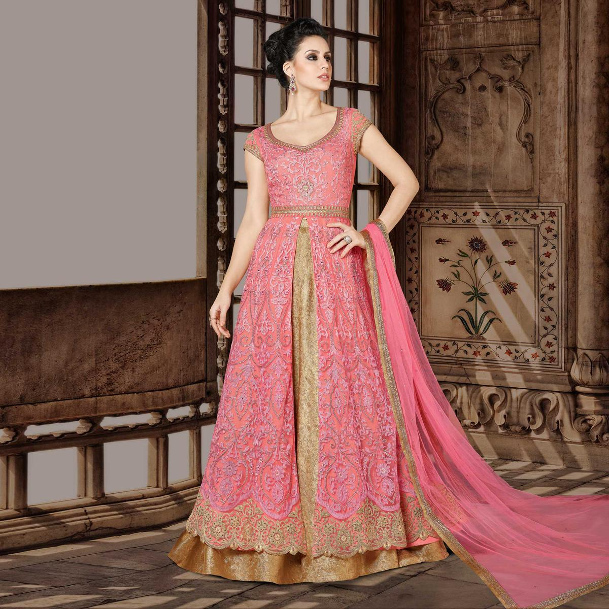 Breathtaking Pink Designer Embroidered Floor Length Premium Net Suit