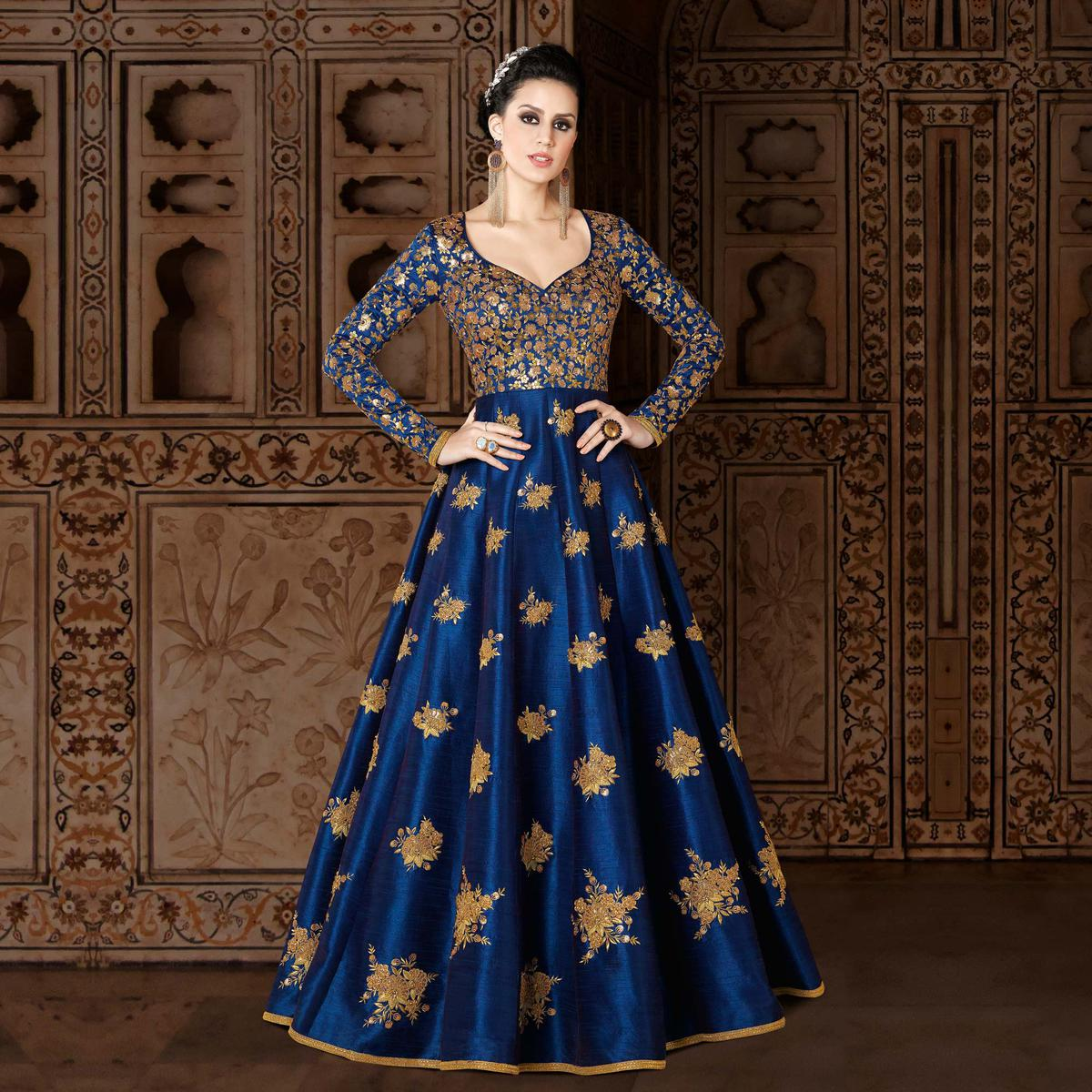 Mesmerising Royal Blue Designer Embroidered Floor Length Mulberry Silk Suit