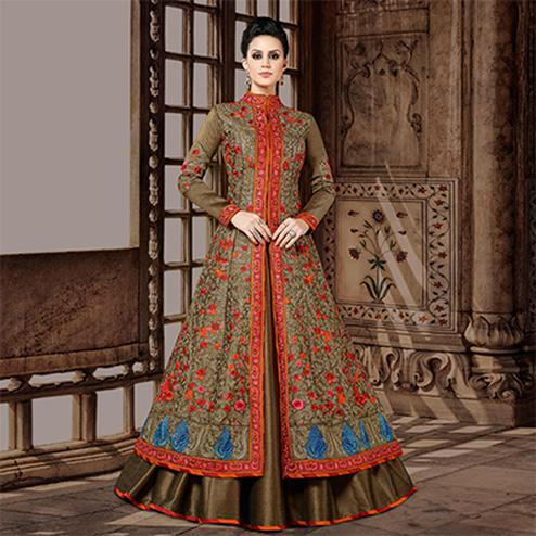 Graceful Brown Designer Embroidered Floor Length Mulberry Silk Suit