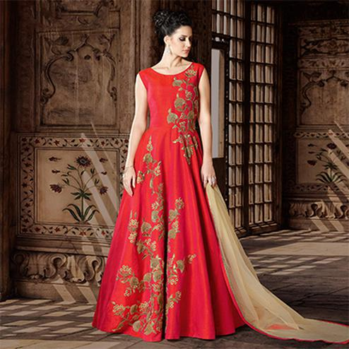 Lipstick Red Designer Embroidered Floor Length Phantoom Silk Suit