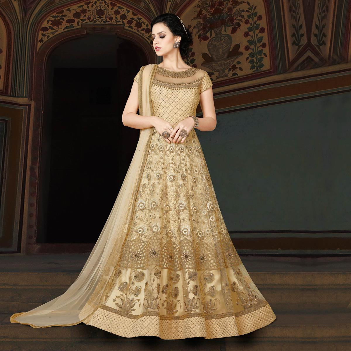 Elegant Beige Designer Embroidered Floor Length Premium Net Suit