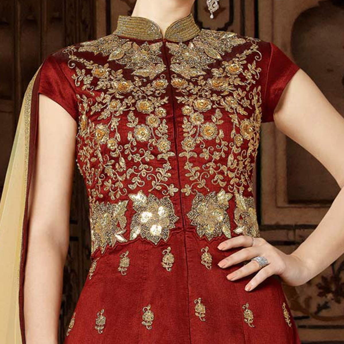Beautiful Maroon Designer Embroidered Floor Length Phantoom Silk Suit