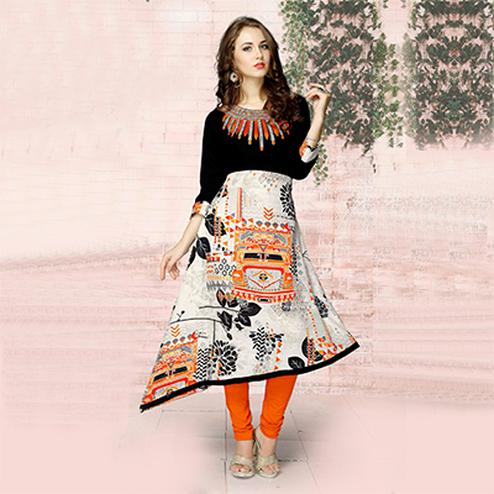 Stylish Black-White Colored Casual Wear Printed Jute Cotton Kurti