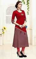 Trendy Red Colored Casual Wear Printed Rayon Cotton Kurti