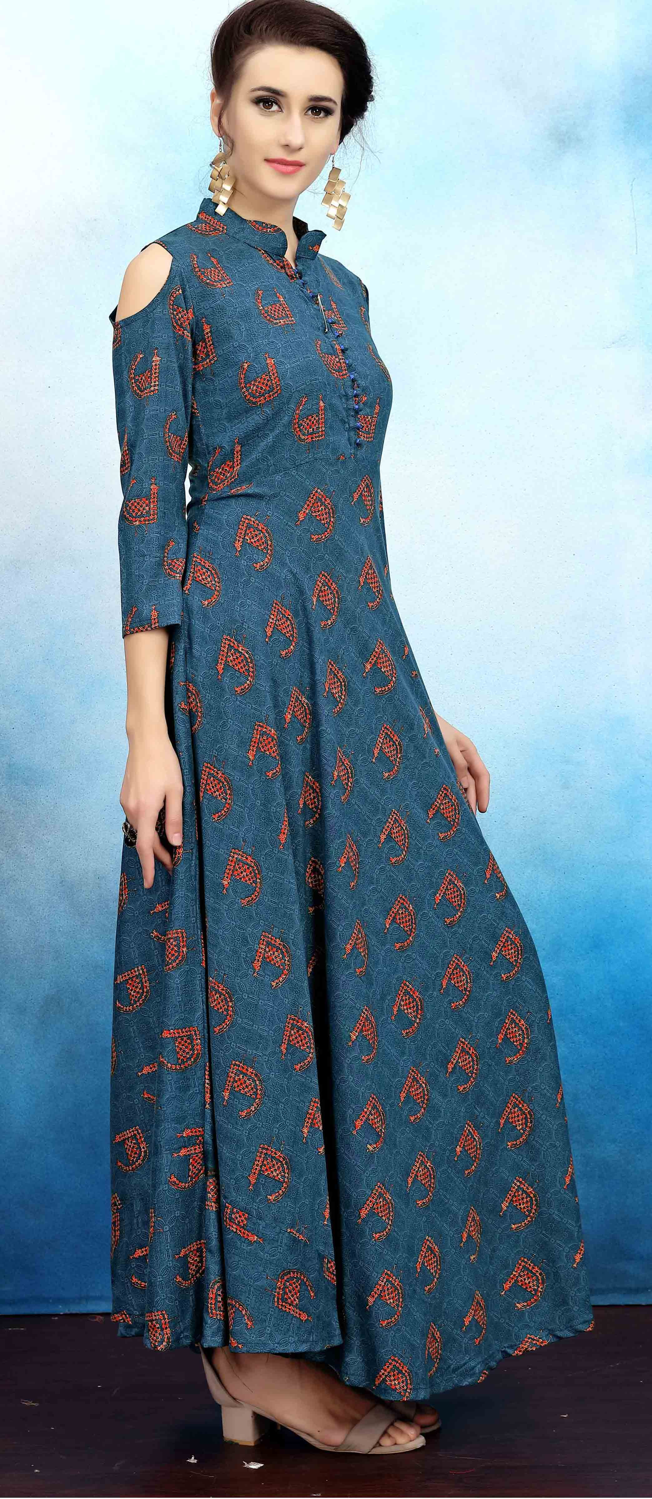 Classy Blue Colored Casual Wear Printed Rayon Cotton Kurti