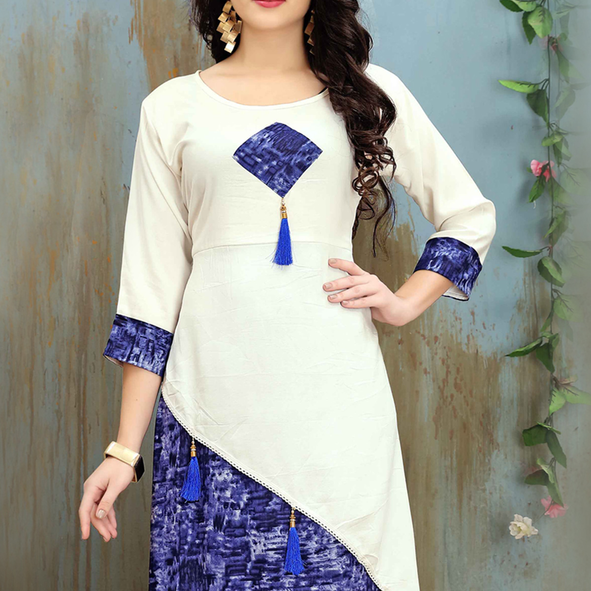 Lovely White-Blue Colored Casual Wear Printed Rayon Cotton Kurti