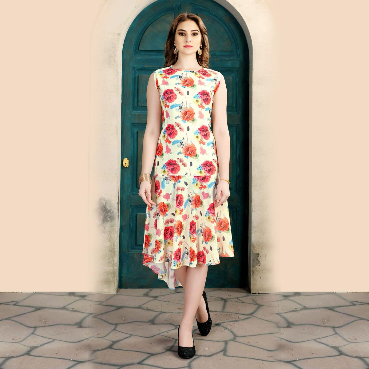 Pretty Cream Colored Casual Wear Printed Cotton Kurti