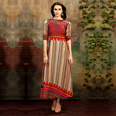 Unique Red-Beige Colored Casual Wear Printed Rayon Cotton Kurti