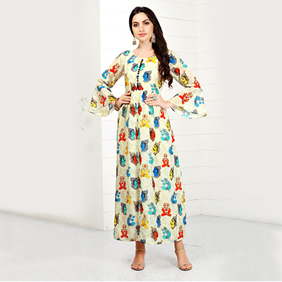 Demanding Off-White Colored Casual Wear Printed Rayon Cotton Kurti