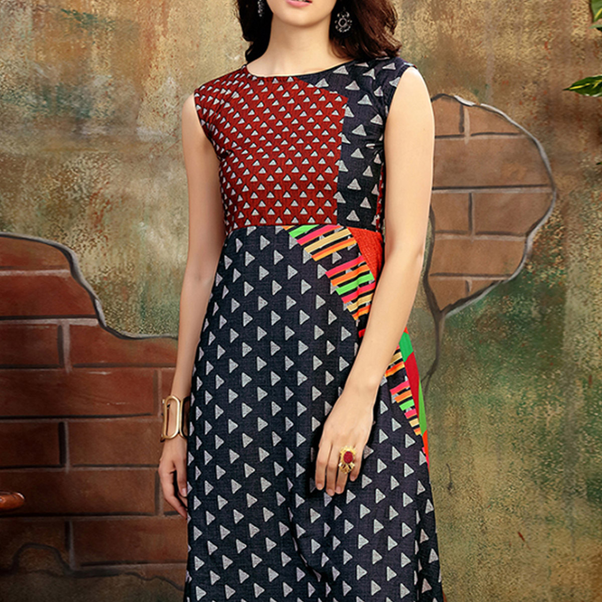 Attractive Black-Multi Colored Casual Wear Printed Rayon Cotton Kurti