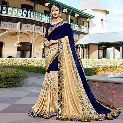 Beautiful Navy Blue Colored Partywear Embroidered Art Silk Saree