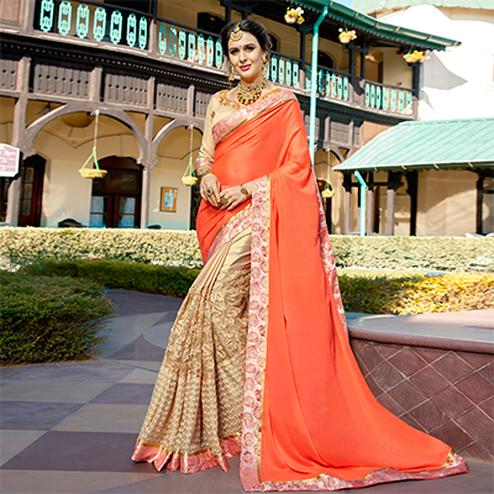 Elegant Orange-Beige Colored Partywear Embroidered Art Silk Saree