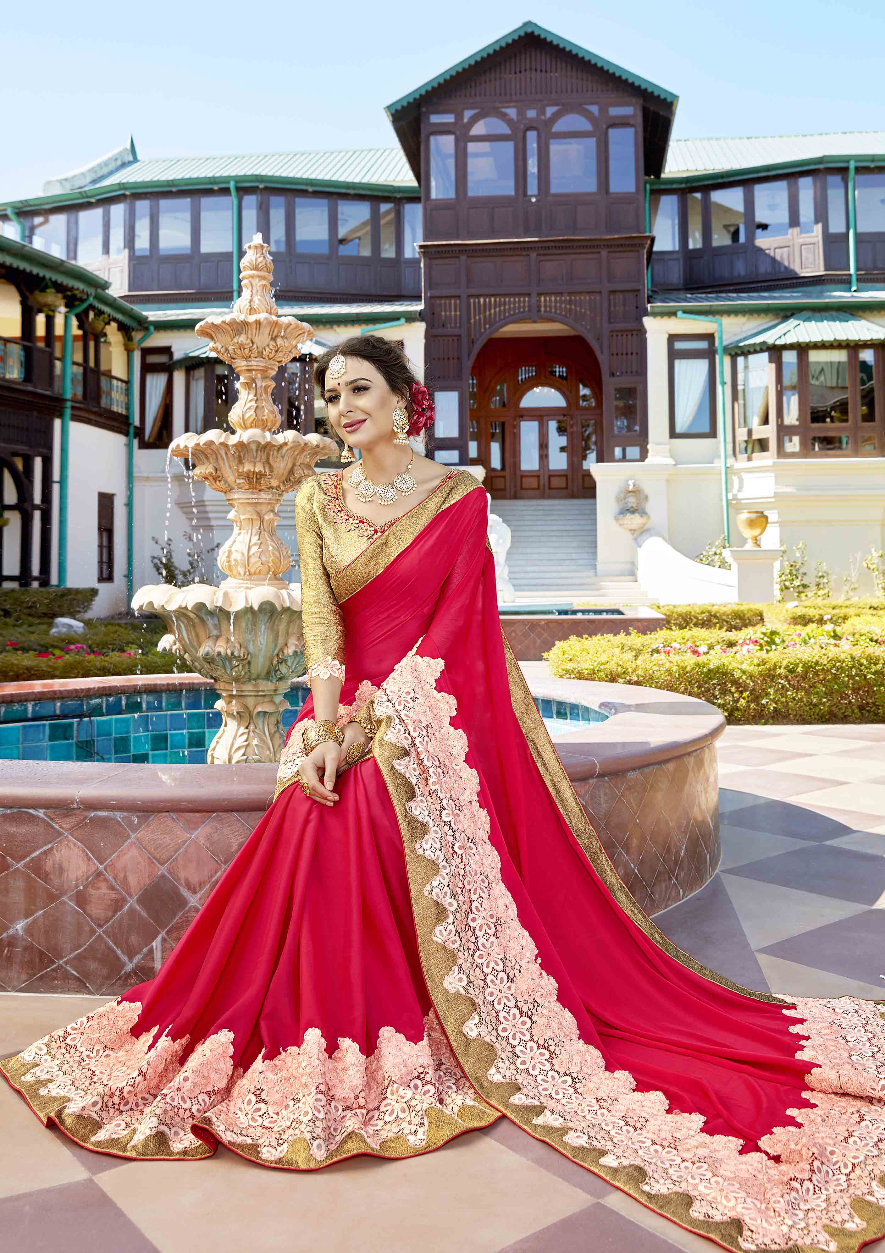 Hot Pink Colored Partywear Embroidered Art Silk Saree