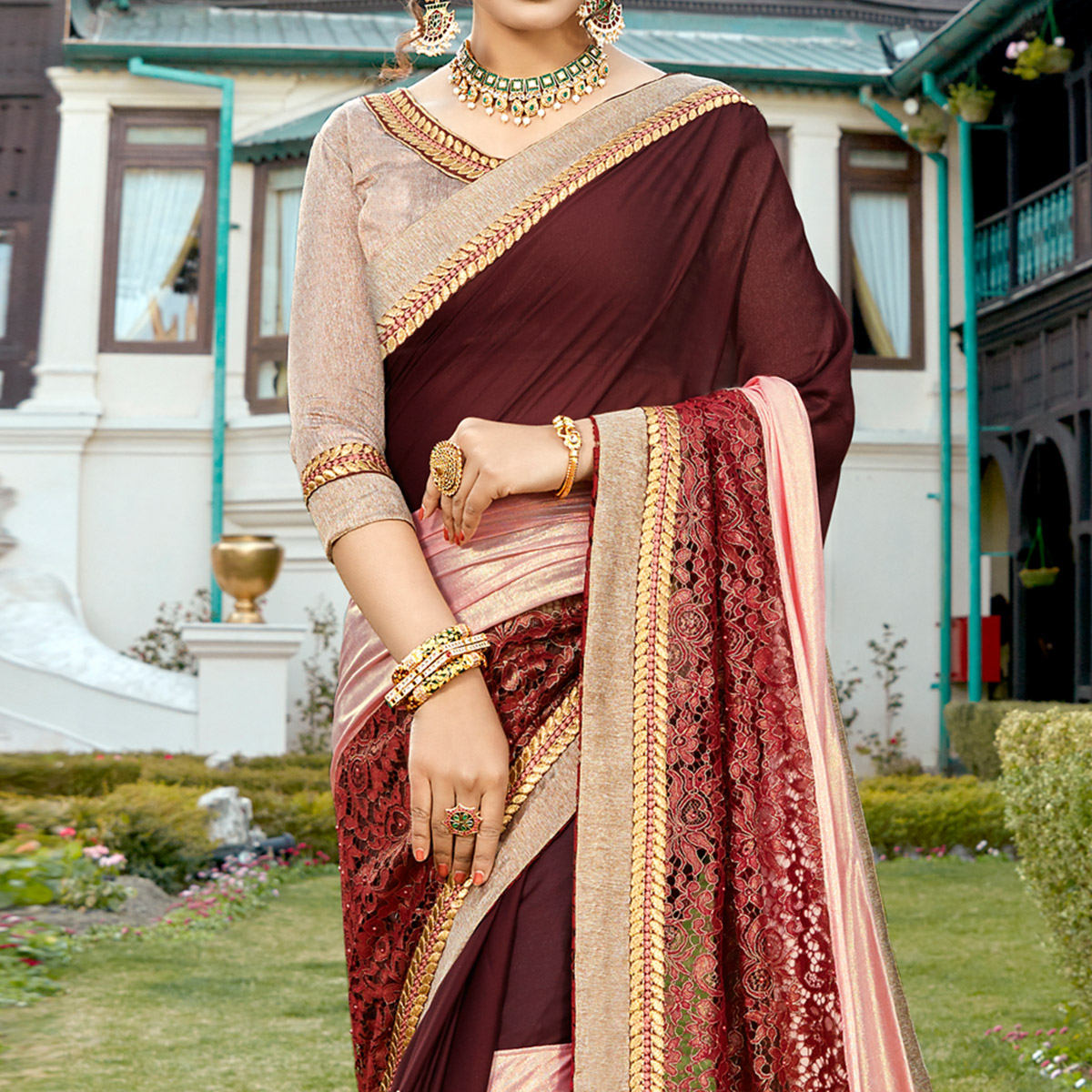 Attractive Brown-Pink Colored Partywear Embroidered Art Silk Saree