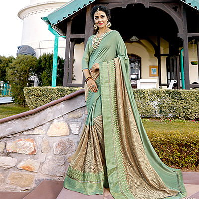 Eye-Catching Light Green Colored Partywear Embroidered Art Silk Saree