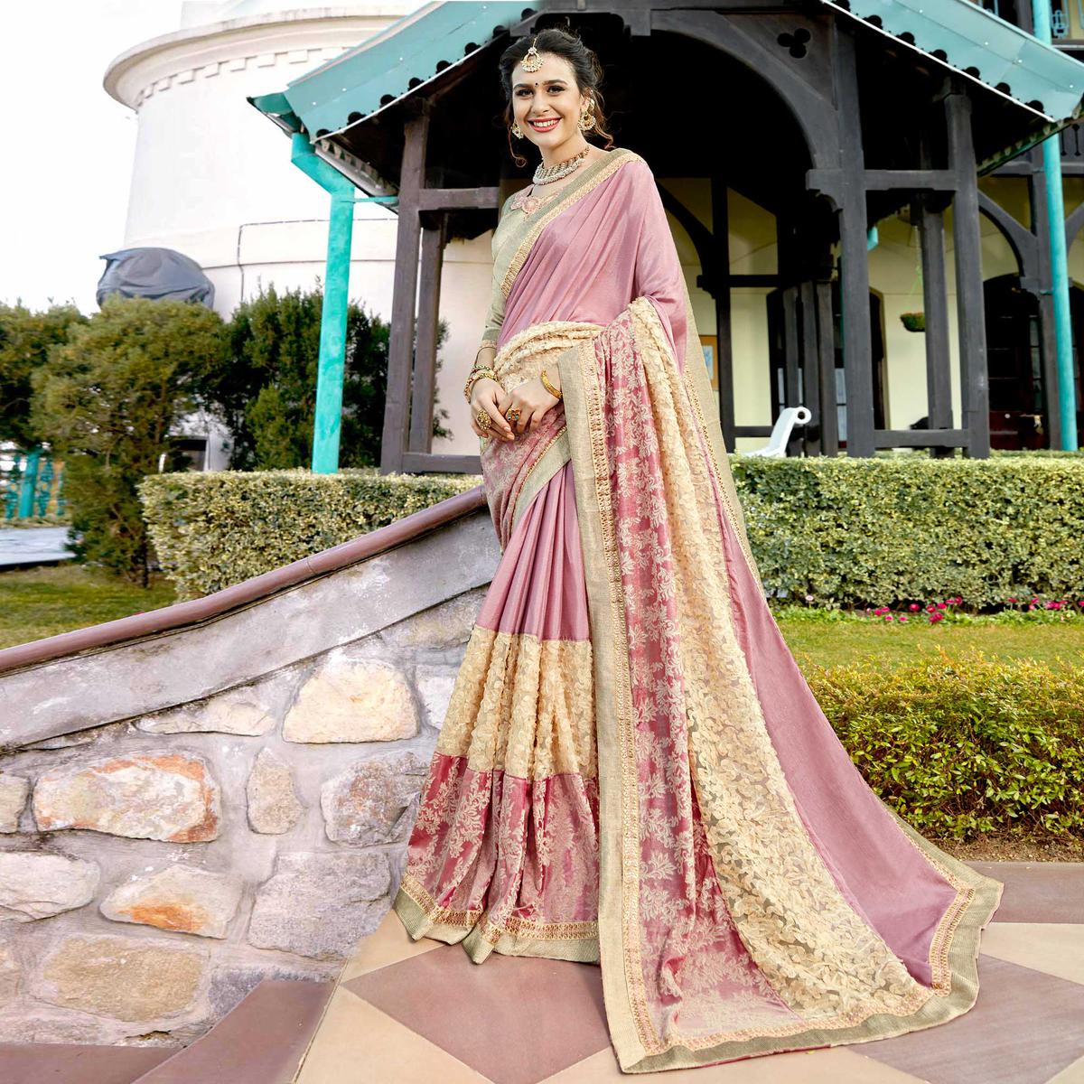 Pretty Pink Colored Partywear Embroidered Art Silk Saree