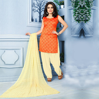 Appealing Orange Pure Banarasi Silk Jacquard Designer Patiala Suit