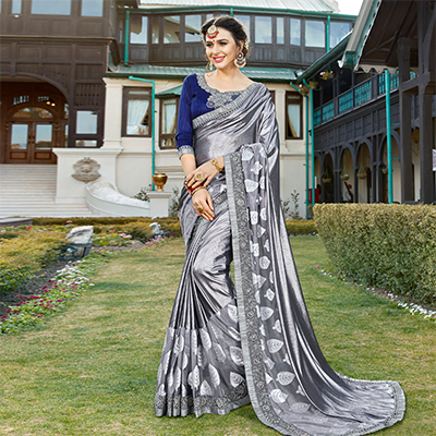 Trendy Gray Colored Partywear Embroidered Art Silk Saree