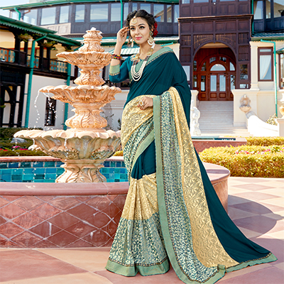 Unique Rama Blue Colored Partywear Embroidered Art Silk Saree