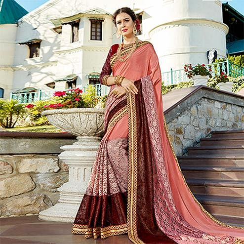 Mesmeric Peach Colored Partywear Embroidered Art Silk Saree