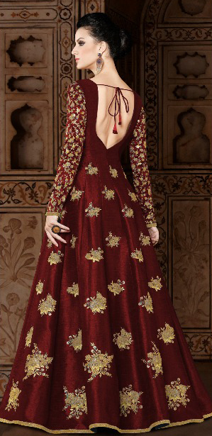 Demanding Maroon Colored Partywear Designer Embroidered Mulberry Silk Anarkali Suit