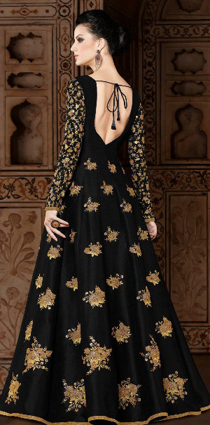 Mesmerising Black Colored Partywear Designer Embroidered Mulberry Silk Anarkali Suit