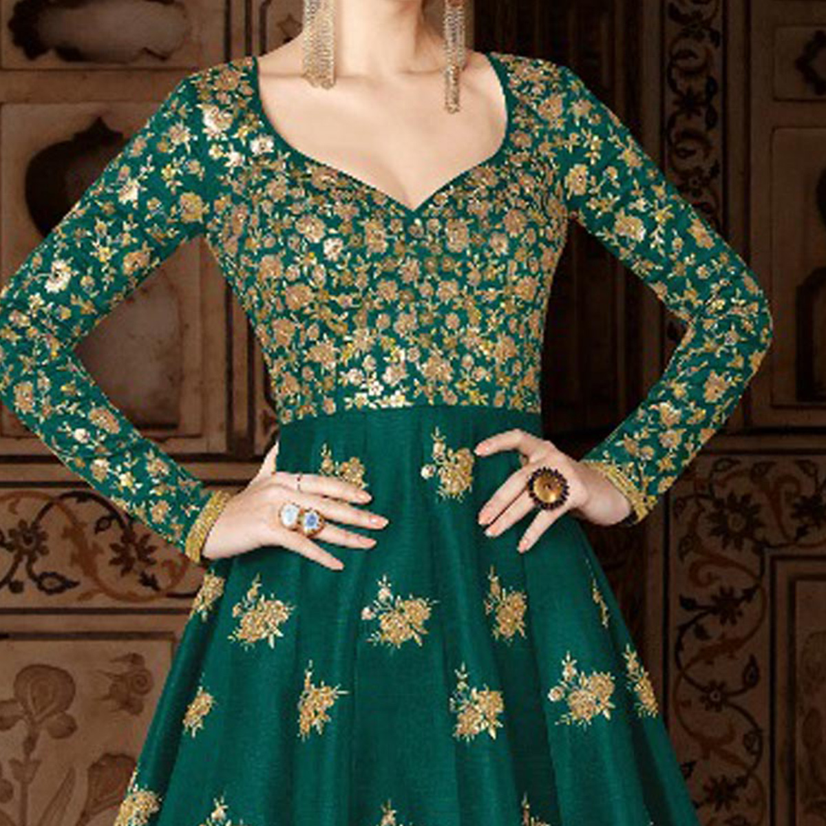 Impressive Teal Green Colored Partywear Designer Embroidered Mulberry Silk Anarkali Suit