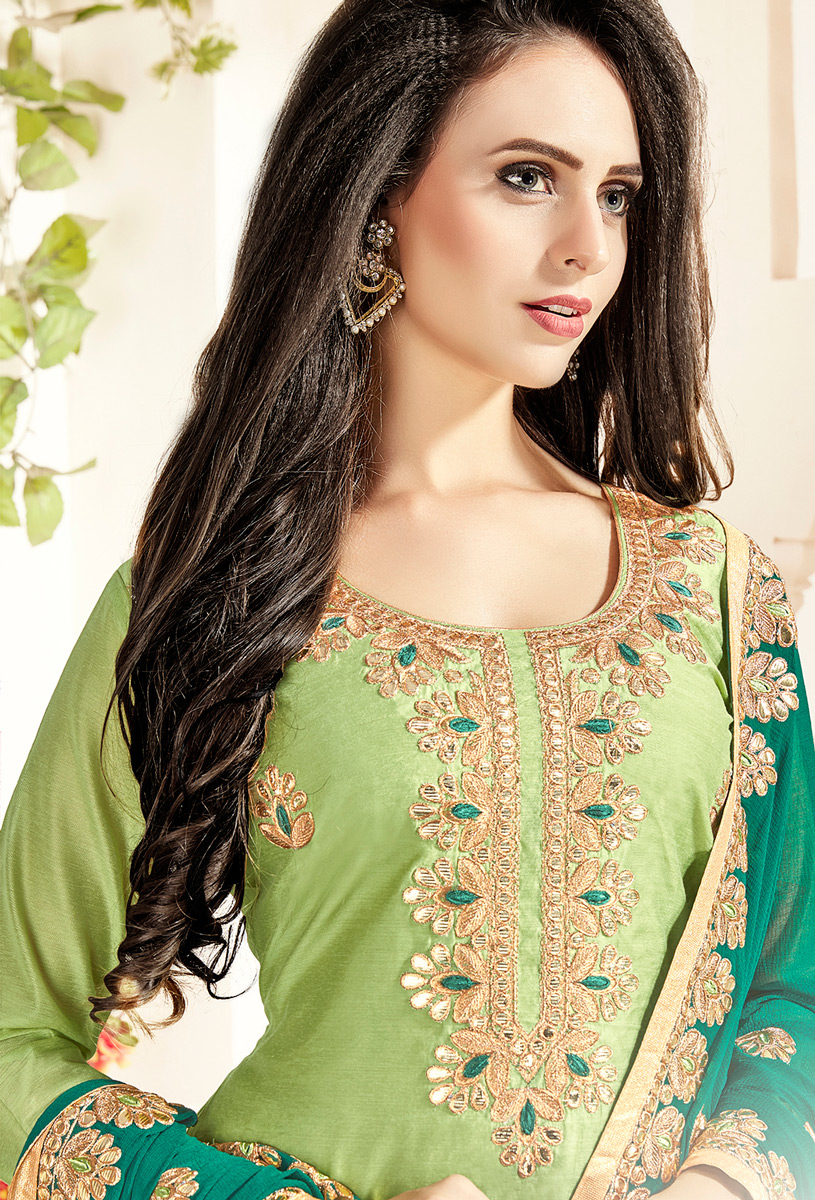 Glowing Green Colored Partywear Embroidered Chanderi Silk Dress Material