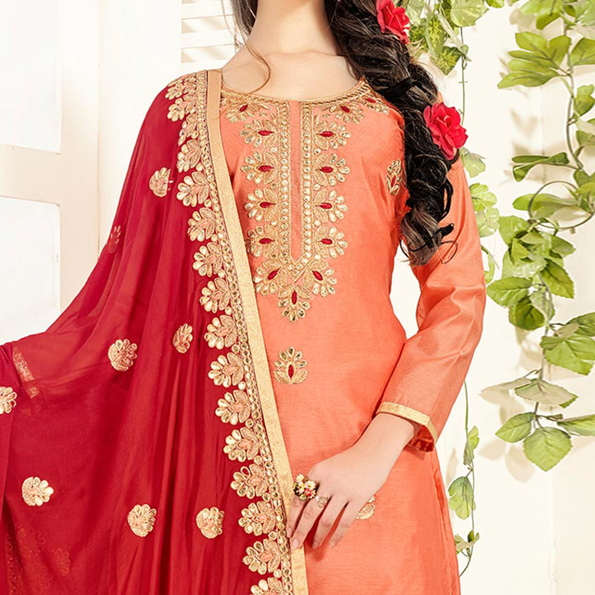 Exotic Orange Colored Partywear Embroidered Chanderi Silk Dress Material