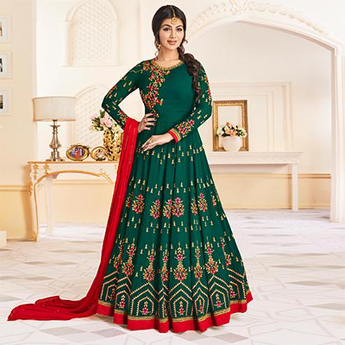 Beautiful Green Colored Partywear Embroidered Georgette Anarkali Suit