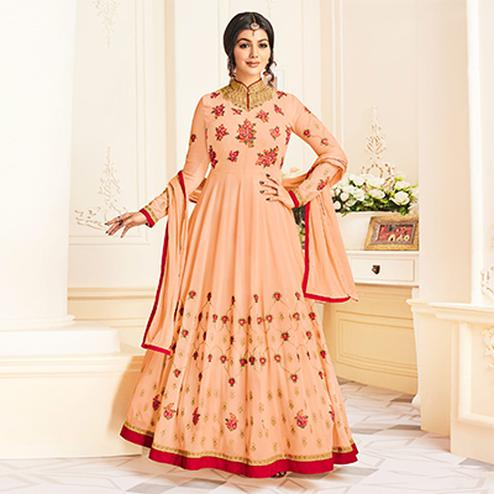 Impressive Peach Colored Partywear Embroidered Georgette Anarkali Suit