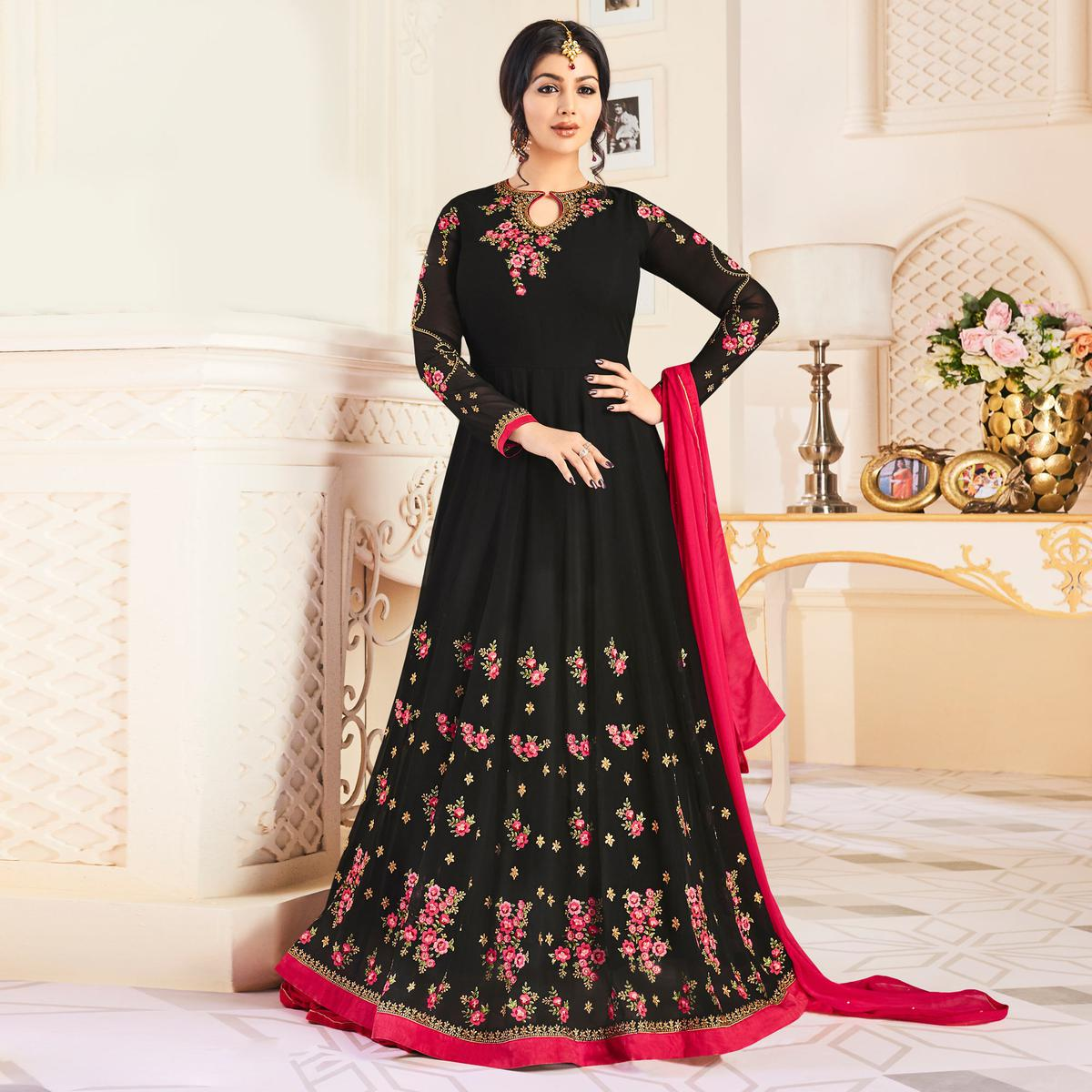 Gorgeous Black Colored Partywear Embroidered Georgette Anarkali Suit