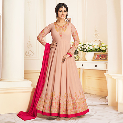 Unique Rust Pink Colored Partywear Embroidered Georgette Anarkali Suit