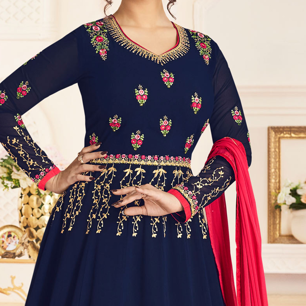 Flaunt Navy Blue Colored Partywear Embroidered Georgette Anarkali Suit
