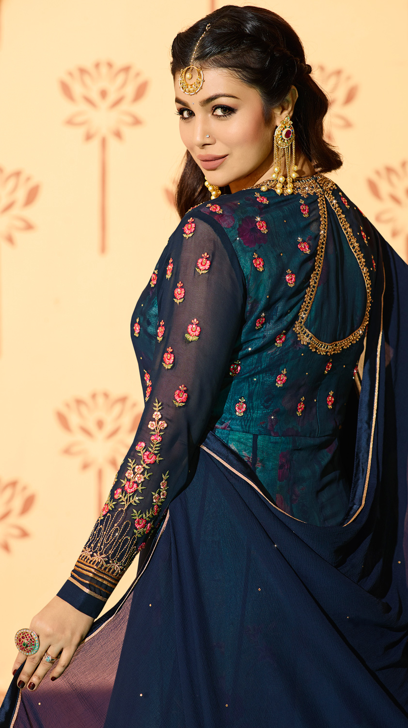 Mesmerising Rama Blue Colored Partywear Designer Embroidered Georgette Anarkali Suit