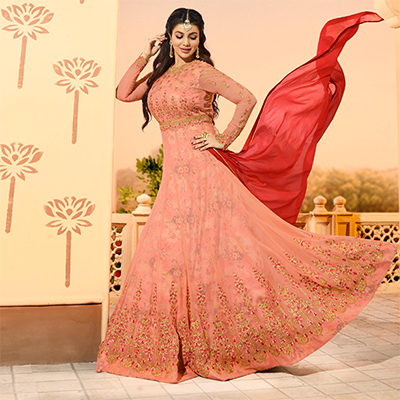 Impressive Pink Colored Partywear Designer Embroidered Georgette Anarkali Suit