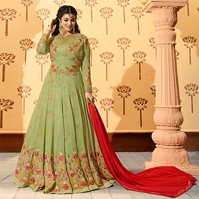 Glowing Green Colored Partywear Designer Embroidered Georgette Anarkali Suit