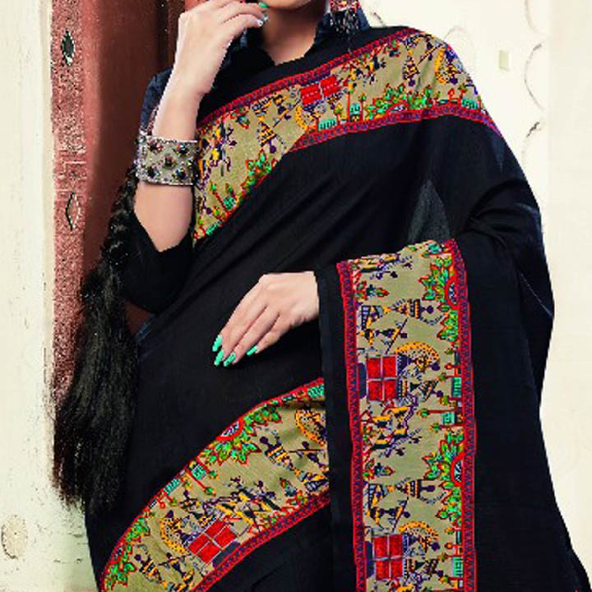 Black Tribal Design Printed Saree