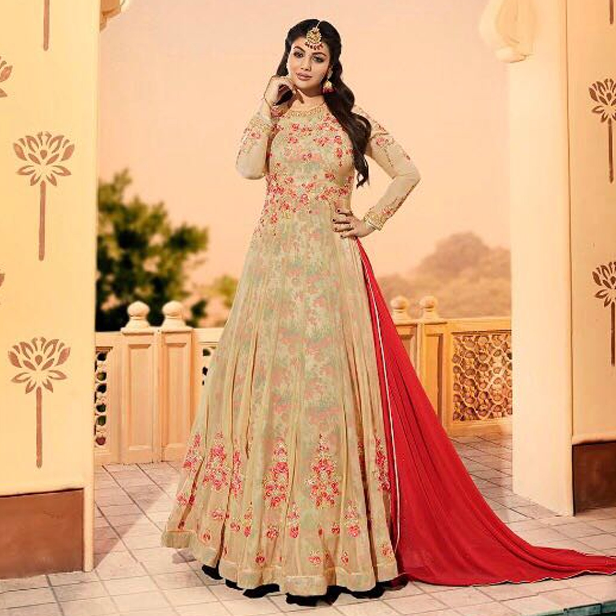 Beautiful Beige Colored Partywear Designer Embroidered Georgette Anarkali Suit