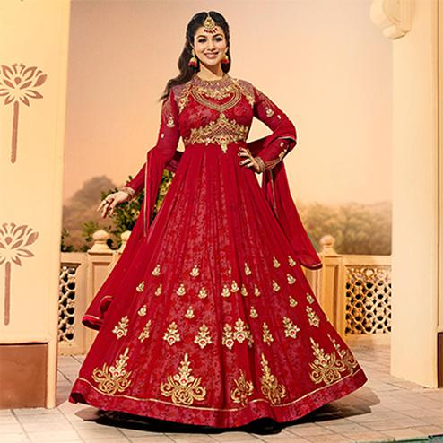 Flaunt Red Colored Partywear Designer Embroidered Georgette Anarkali Suit