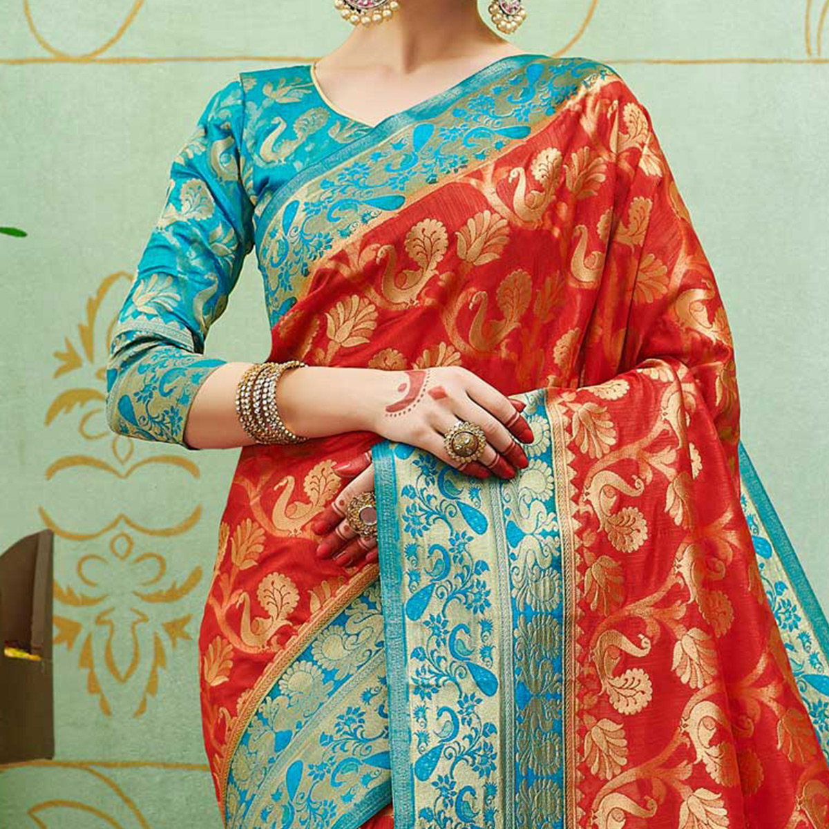 Attractive Red Colored Festive Wear Woven Banarasi Silk Saree
